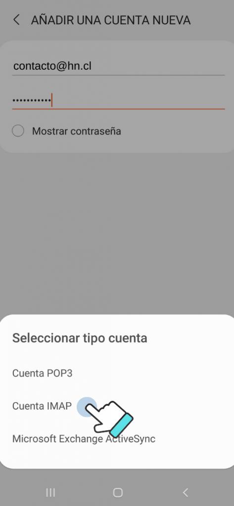 configurar correo android: seleccionar IMAP
